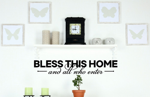 Bless All Who Enter Vinyl Family Wall Decal for Entryway Decor