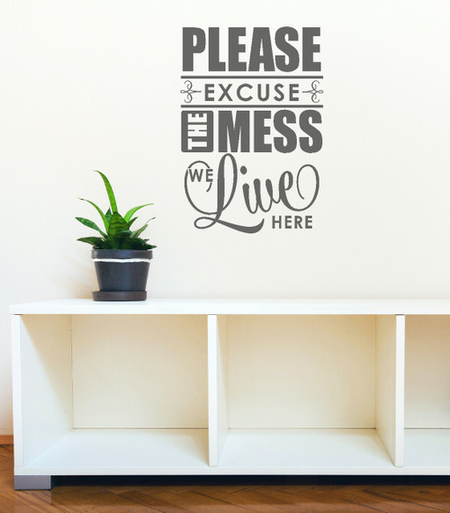 Excuse The Mess We Live Here Family Wall Decal Quote for Home Decor