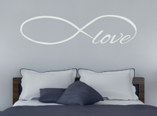 Love Wall Decal with Infinity Symbol for Bedroom Decor-White