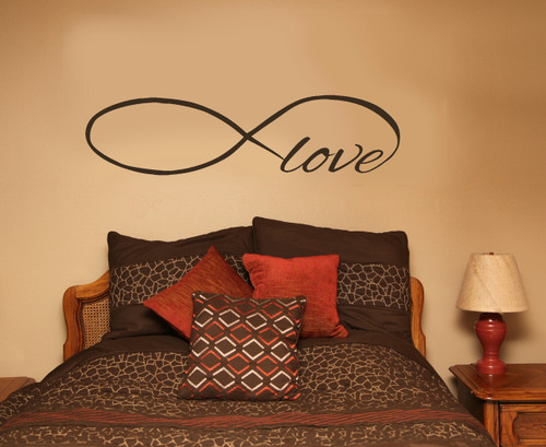 Love Wall Decal with Infinity Symbol for Bedroom Decor-Chocolate