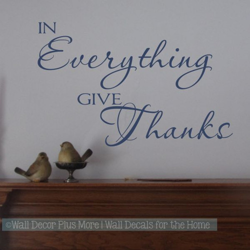 In Everything Give Thanks Kitchen Wall Decal Stickers Quotes-Deep Blue
