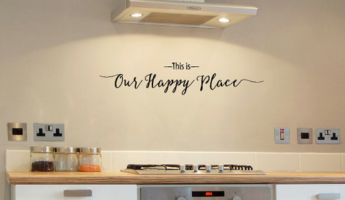 This Is Our Happy Place Wall Decal Quote for Entryway Decor-Black