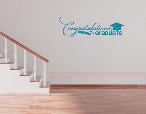 Congratulations Graduate Wall Vinyl Sticker Decal for Graduation Party Decor, with Diploma & Hat - Teal