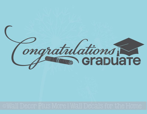 Congratulations Graduate Vinyl Sticker Decal for Graduation, with Diploma & Hat