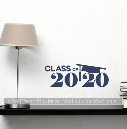 Class of 2020Vinyl Sticker Decal with Graduation Cap-Deep Blue