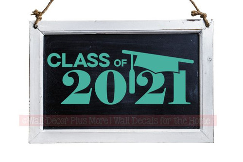 Class of 2021 Vinyl Sticker Decal with Graduation Cap Chalkboard Turquoise