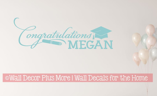 Personalized Graduate Vinyl Sticker Decal - Congratulations with Name Beach House