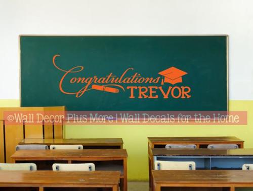 Personalized Graduate Vinyl Sticker Decal - Congratulations with Name Orange