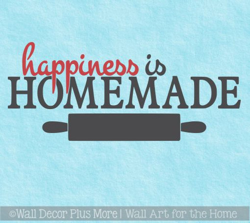 Happiness is Homemade Kitchen Quotes Wall Decals, 2 Color Vinyl Sticker 23x10-Inch