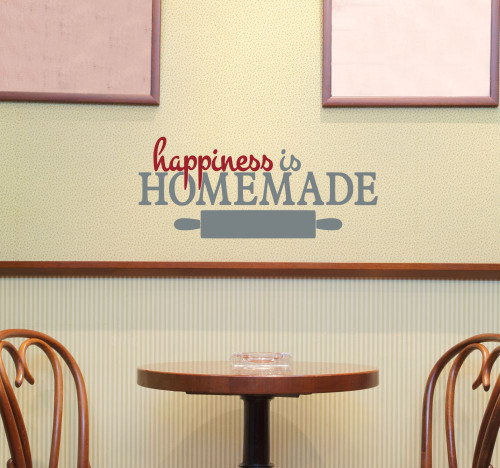 Happiness is Homemade Kitchen Quotes Wall Decals, 2 Color Vinyl Sticker 23x10-Inch- Storm Gray, Red