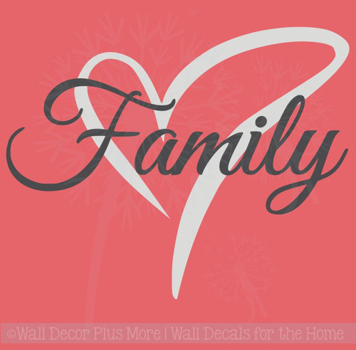 Cursive Family Wall Decal Lettering with Heart, 2-Color Vinyl Stickers to Overlay