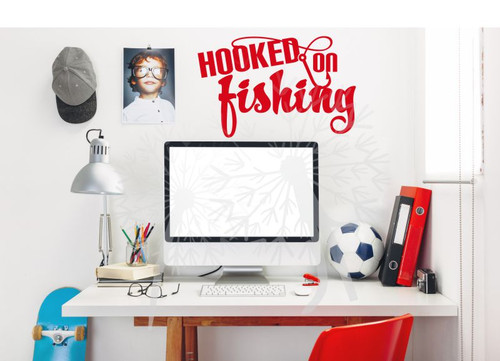 Hooked on Fishing Wall Decal Quote with Fishing Hook Cherry Red Boys Room