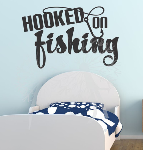 Hooked on Fishing Wall Decal Quote with Fishing Hook Black