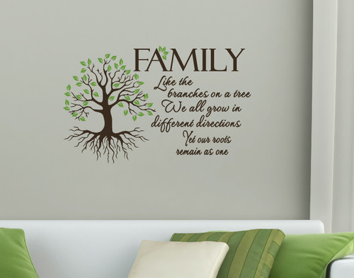 Family Quote, Like Branches on a Tree, Wall Art Vinyl Decal-Chocolate Brown, Olive