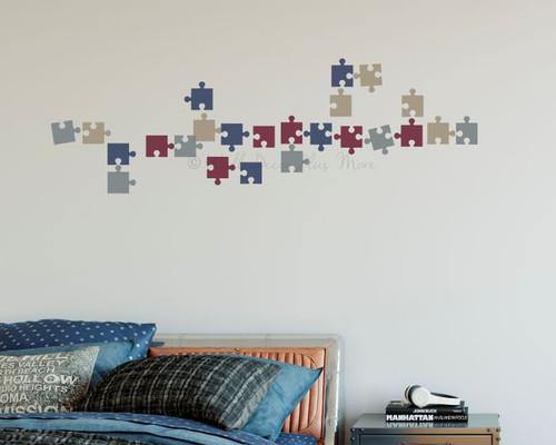 Puzzle Pieces Wall Vinyl Sticker Decals Kids Room Nursery Decor Tan StormGray Burgundy DeepBlue
