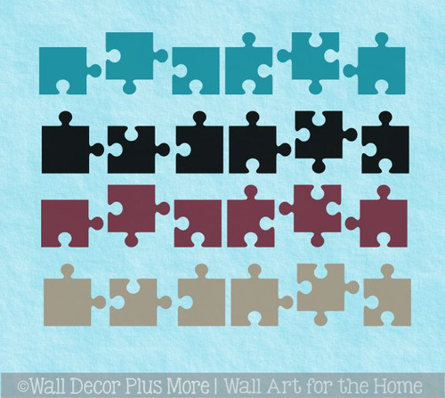 Puzzle Pieces Wall Vinyl Sticker Decals Kids Room Nursery Decor 24 pc
