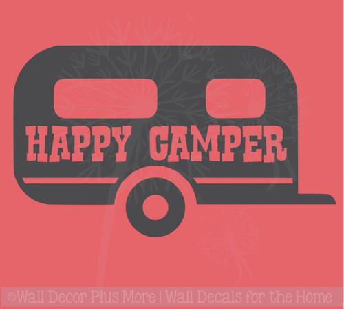 Happy Camper Summer Quotes Vinyl Wall Decals with Vintage Camper Design