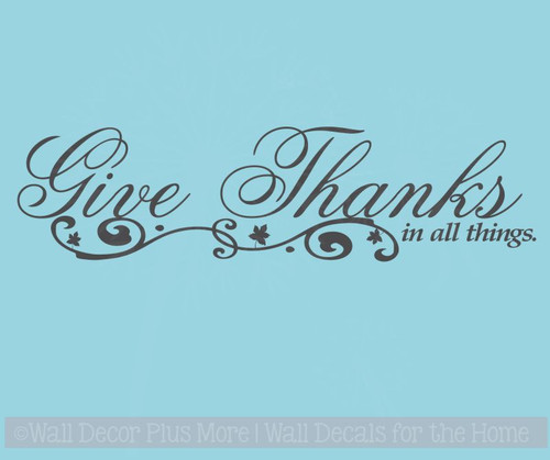Give Thanks In All Things Kitchen Wall Sticker Decals Quotes