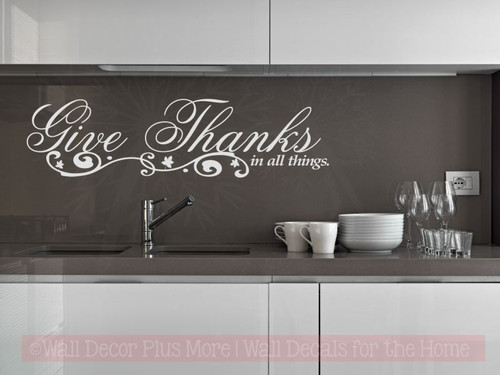 Give Thanks In All Things Kitchen Wall Sticker Decals Quotes-Light Gray