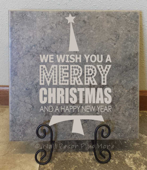 We Wish you a Merry Christmas Vinyl Wall Decal Stickers with Tree