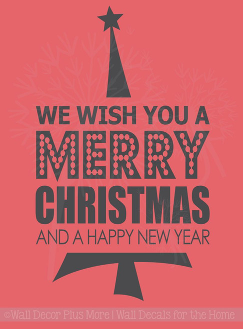 Christmas Vinyl Decals.We Wish You A Merry Christmas Vinyl Decal With Tree Holiday Wall Stickers