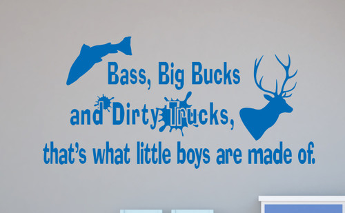 Bass Bucks Dirty Trucks Boys Wall Decal Stickers Saying