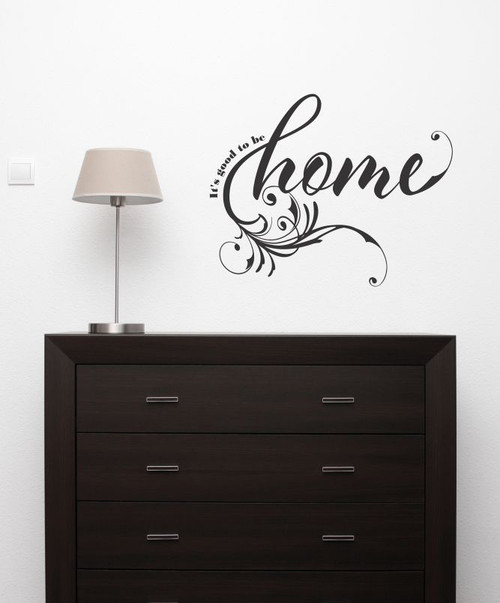 Vinyl Wall Decals Words It's good to be home, with Swirl Design