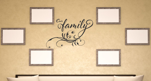 Our Family Vinyl Wall Decal Words with Modern Swirl Graphics