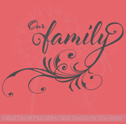 Our Family Vinyl Wall Decal Letters with Modern Swirl Graphics