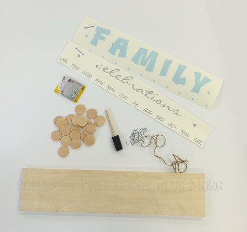 Family Celebrations or Birthdays Board Kit, Vinyl Decal, Wooden Circles, Hooks
