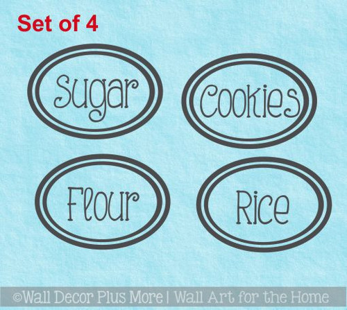 Canister or Jar Decals for Kitchen Organization, set of 4, Customize your Text