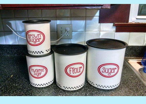 Canister or Jar Decals for Kitchen Organization, set of 4, Custom Text