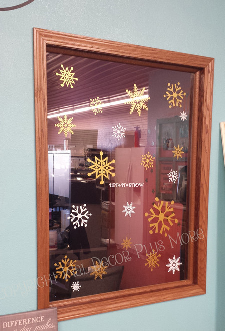 Winter Stickers Wall Decals Large Snowflakes in Office Window