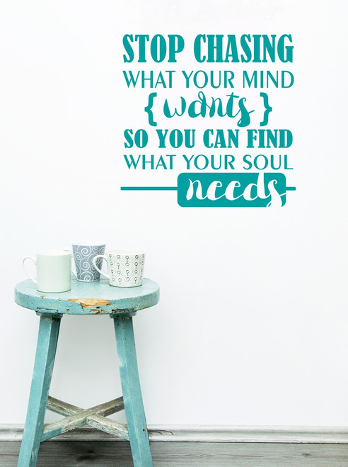 What your Soul Needs Inspirational Saying Quote Vinyl Wall Decals-Turquoise