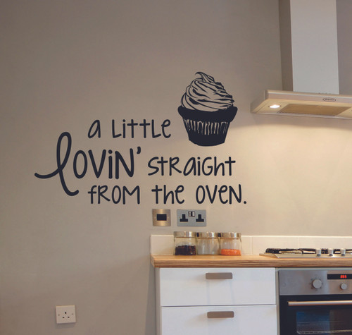 Kitchen Quote Wall Decals A Little Lovin' Straight From the Oven with Cupcake Art-Black