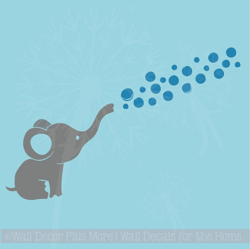 Elephant Wall Decal with Floating Bubbles Cool Nursery Room Decor