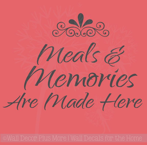 Kitchen Quotes Meals and Memories Made Here Wall Decal Stickers, Wall Letters