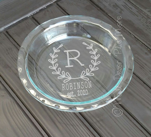 Etching Kit Monogram Laurel Wreath Vinyl Sticker Stencil, Cream, Brush, Instructions to Customize Glass Dish used on bottom of pie pan