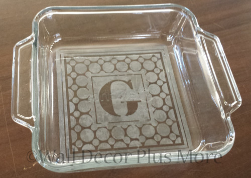 Etching Kit for Square Glass Dish Dotted Frame with Monogram Letter Vinyl Sticker Stencil, Cream, Brush