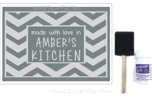 Etching Kit for 9x13 Glass Dish Chevron Made with Love Vinyl Decals Stencil, Cream, Brush