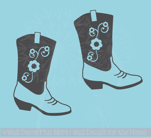 Cowgirl Boot Western Wall Decals Vinyl Stickers Removable Wall Graphics