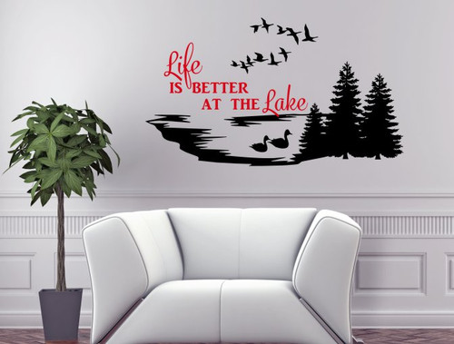 Life is Better at the Lake Wall Decals Summer Quotes Camper Decor Black & Cherry Red