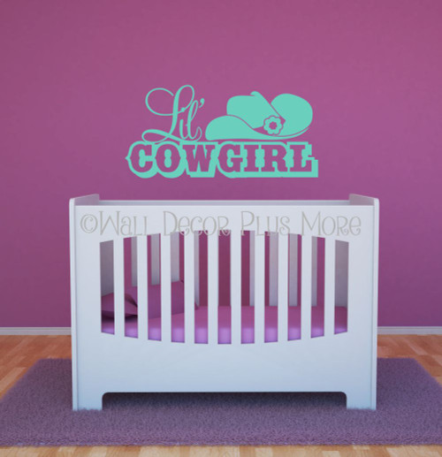 Lil' Cowgirl Western with Hat Wall Decals Girls Room Decor Mint