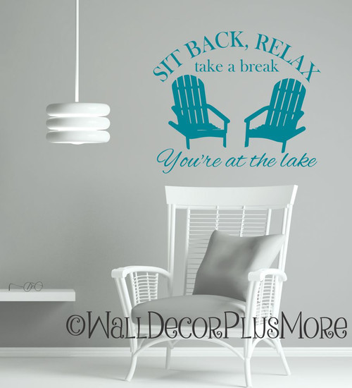 Sit Back, Relax Camping Wall Art Decal Summer Quote with Chairs