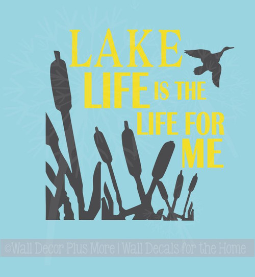 Lake Life is the Life for Me Camping Wall Decals Sticker with Silhouette Graphics