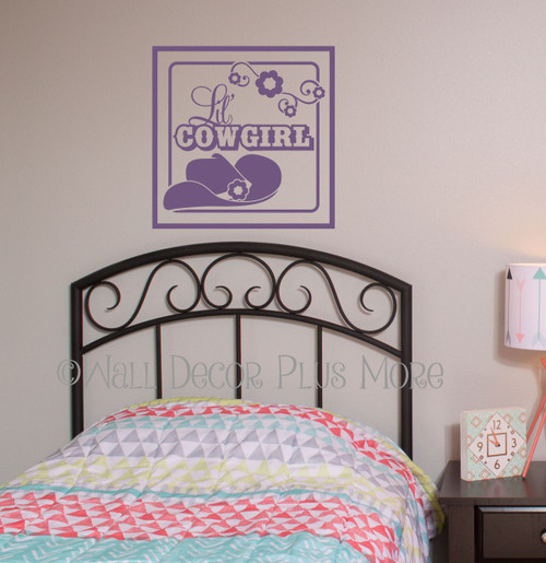 Western Wall Art Decals Lil Cowgirl Square Wall Graphic Decals Plum