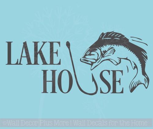 Lake House with Hook and Fish Wall Decals Camping Wall Décor