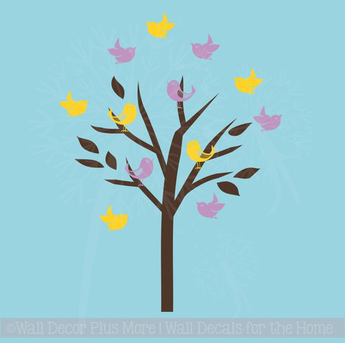 Tree and Birds Wall Decals Vinyl Sticker Art Spring Wall Décor