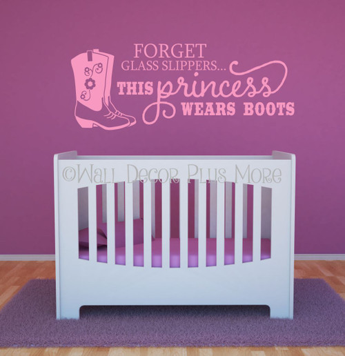 Forget the glass slipper Princess Western Wall Decals-Soft Pink