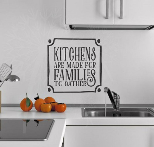 Kitchens are for Made Families to Gather Removable Kitchen Wall Decals-Black